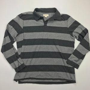 Banana Republic Grey Striped Rugby Shirt Sz XL